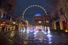 The LINQ development with the Las Vegas High Roller in the background during the inaugural lighting ceremony.
