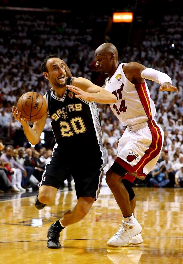 Manu Ginobili drives to the basket against Ray Allen during Game 4 of the 2014 NBA Finals. Photo: Andy Lyons, Getty Images