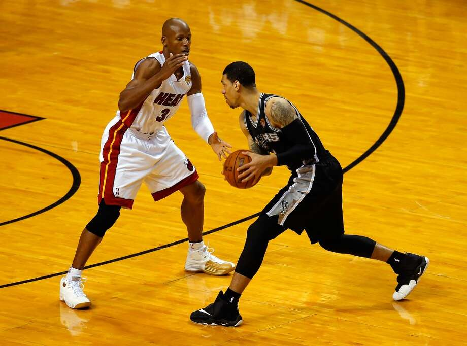 Ray Allen defends against Danny Green during Game 4 of the 2014 NBA Finals. Photo: Chris Trotman, Getty Images