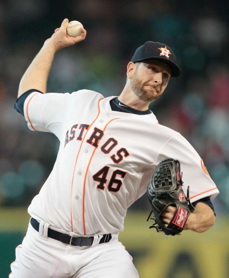 June 12: Astros 5, Diamondbacks 4  Scott Feldman pitches in the first inning against the Arizona Diamondbacks. Photo: Bob Levey, Getty Images