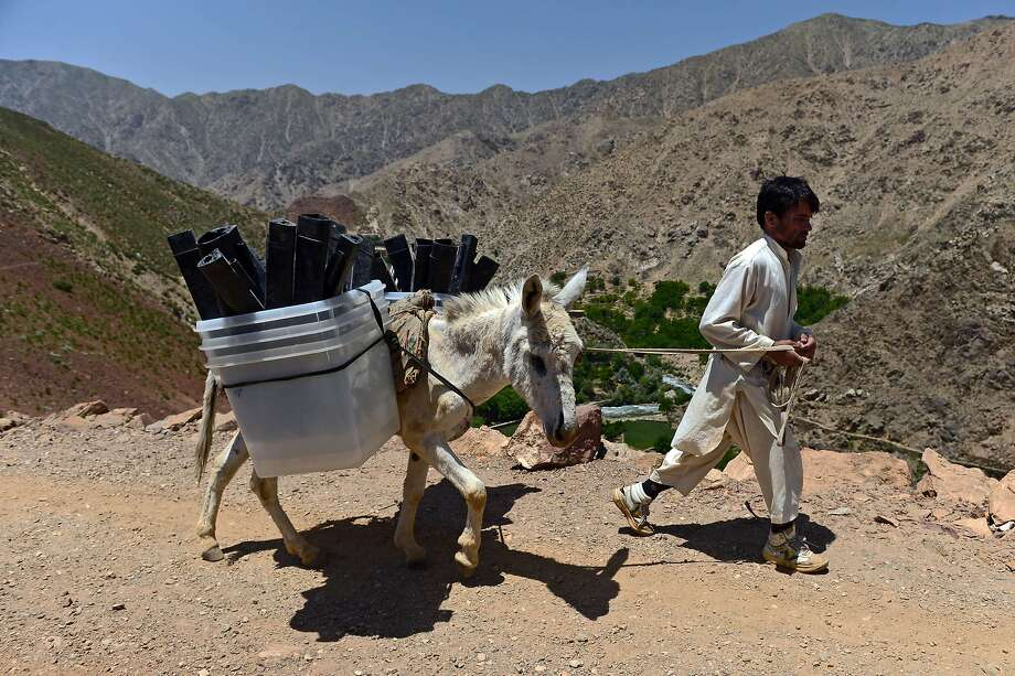 An Afghan villager leads a donkey carrying ballot boxes and other election materials to polling stations not accessible by road along a path in the Shotul district of Panjshir province on June 13, 2014. Afghans head to the polls on June 14 for a second-round election to choose a successor to President Hamid Karzai, with the threat of Taliban attacks and fraud looming over the country's first democratic transfer of power. AFP PHOTO/ Wakil KohsarWAKIL KOHSAR/AFP/Getty Images Photo: Wakil Kohsar, AFP/Getty Images
