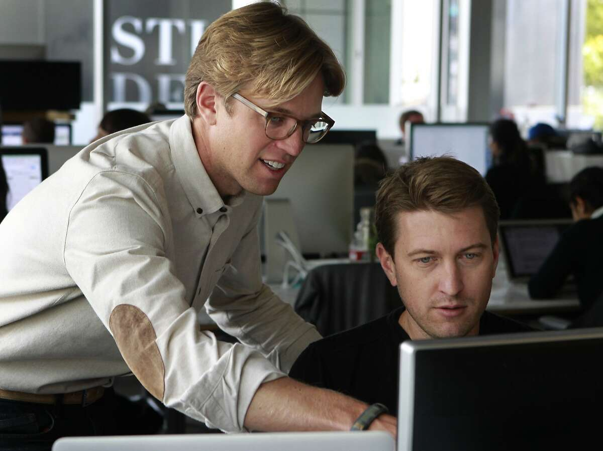 Stride Health co-founders Noah Lang (left) and Matt Butner work on the start-up's website in San Francisco, Calif. on Thursday, June 12, 2014. The team of developers designed a search engine that helps users select customized health care plans in an easy-to-use format.