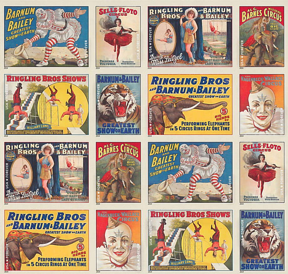 The vintage circus poster stamps from the U.S Post Office. Photo: Contributed Photo / Connecticut Post Contributed