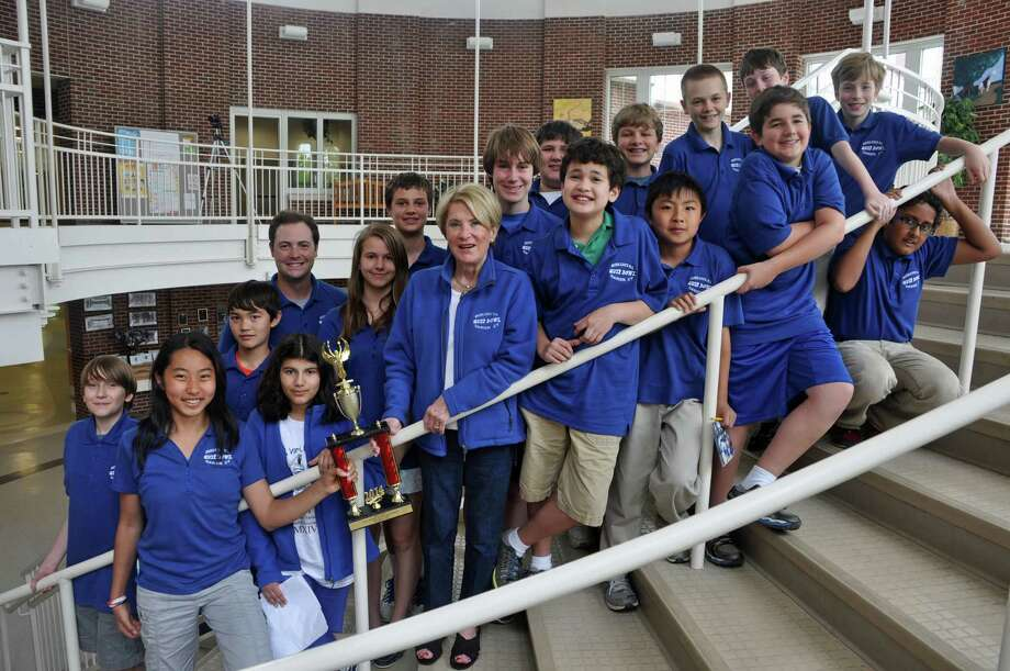 The Middlesex Middle School Quiz Bowl team members, from left, were Cole Hanson, Julia Tong, Kieran Daly, coach Ken Romeo, Maya Nalawade, Casey Martin, Jack Roberson, coach Barbara Ivey, Thomas Brown, John Phipps, Griffin Samroengraiai, Brett Peters, Evan Tong, Folke Bruno, Colin Adams, Henry Steinthal, Nick Derby and Shashank Sangaru. Photo: Contributed Photo, Contributed / Darien News