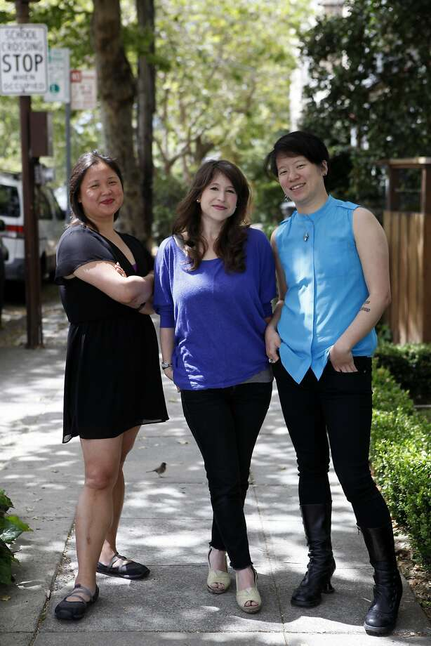 Rooster service creators: CEO Jennifer 8. Lee (left), Editorial Director Yael Goldstein and CTO Jacky Chang. Photo: Michael Short, The Chronicle