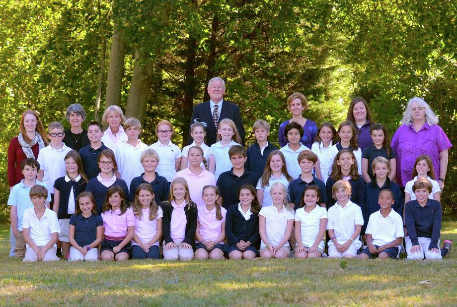 The 2014 graduating class at Pear Tree Point School in Darien are, from left in front row, Graham Reichhelm, Paige Sriubas, Gwen Thompson, Audrey Pizzolato, Charlotte Gelhaus, Alexandra Bowman, Holly Knight, Caitlin Collins, Lindsay Hall, Will Lodge, Michael Stanfield and Grant Goodrick;  second row, Kiernan Barket, Cavan Duffy, KK Seiter, Sam Eglin, Claire Pittaro, Evan DeVita, Annaka Mettler, Asher Silverman, Izzy Helfant, Jake Murphy and Taylor Glanville; and third row, Lucas Graham Brown, Anthony Pizzolato, Nicolas Madon, Clara Goulding, Caroline Blake, Keaton Abbott, Alexander Peters, Alex Yuen, Caitlin Pasierb, Sofia Segalla and Paige Benson. With them are the faculty, fourth row, Heather Boudreau, Andrea Wintergrass, Margaret Connelly, Headmaster David Trigaux, Assistant Head of School Cricket Mikheev, Meredith Alvarez and Lynne Branstrom. Photo: Contributed Photo, Contributed / Darien News