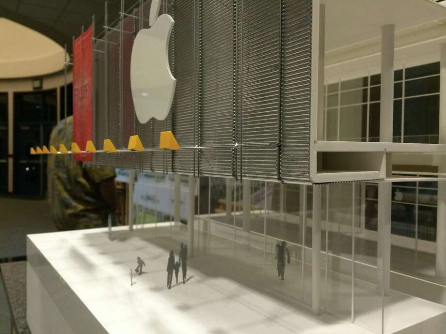 A model of the exterior of the proposed City Center project in San Ramon. The Apple logo is speculative, showing how store signage would look against the upper-level facade of corrugated aluminum. Photo: John King