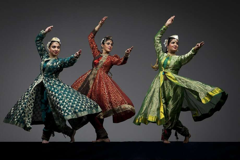 "Labonee Mohanta (left), Rina Mehta and Antara Bhardwaj of the Chitresh Das Dance Company perform ""Shamak."" Photo: Margo Moritz, Ethnic Dance Festival"