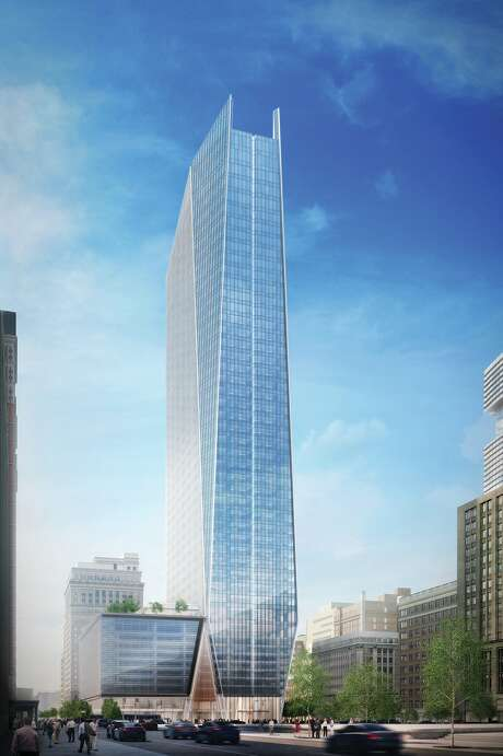 This rendering shows a 48-story Hines office tower under construction in downtown Houston.