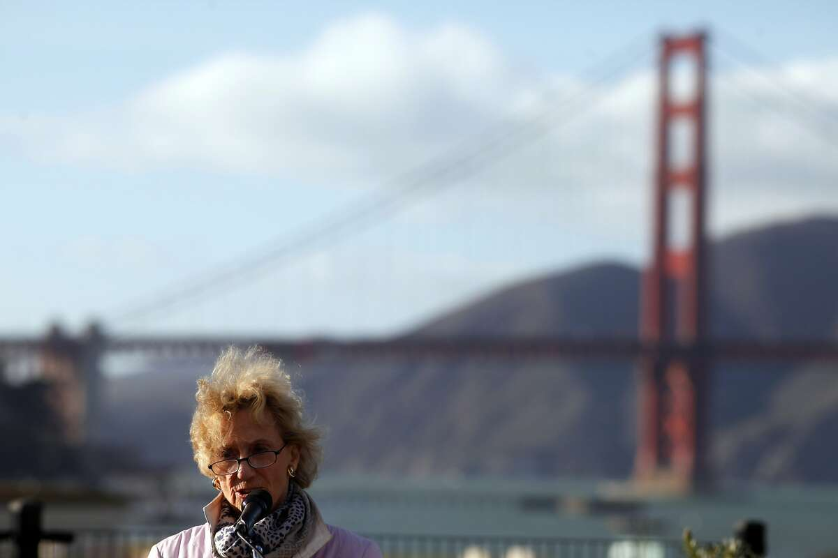 Presidio Trust Board of Directors Chair, Nancy Hellman Bechtle addresses the media to announce that the Crissy Field site is not considering any of the three proposal at this time, Monday February 3, 2014, in San Francisco, Calif. George Lucas wants to build a museum, another group wants to build a cultural center and a third group wants an environmental research institute.