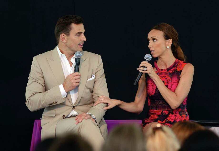 Keynote speakers Bill and Giuliana Rancic, a breast cancer survivor, share their story during the Rose of Hope luncheon Friday, June 13, 2014, at the home of Patti and Tom Keegan in Fairfield, Conn. Photo: Autumn Driscoll / Connecticut Post