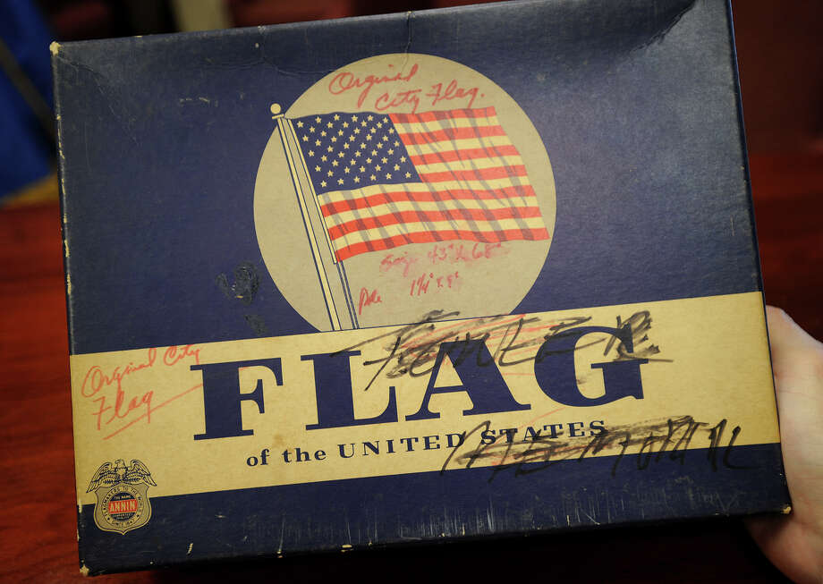The box in which Milford's mayor discovered the original Milford city flag, designed and sewn 50 years ago for the city's 325th Anniversary Celebration. Photo: Brian A. Pounds / Connecticut Post