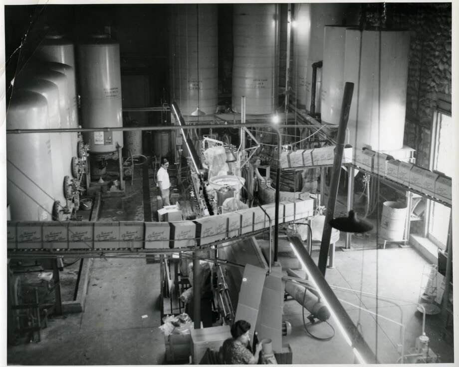 A view of the sparkling-wine bottling room at the Biane (aka Padre) winery from around 1950. Photo: City Of Rancho Cucamonga
