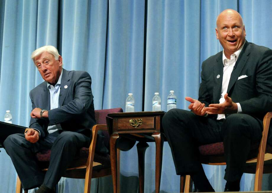 Hall of Fame members Phil Niekro, left, and Cal Ripken Jr., right, speak to students at Cobleskill-Richmondville High School about eating healthy and staying in shape Friday, June 13, 2014, at Cobleskill-Richmondville High School in Richmondville, N.Y. The stop was part of the 75th anniversary of the National Baseball Hall of Fame and Museum. (Michael P. Farrell/Times Union) Photo: Michael P. Farrell / 00027280A