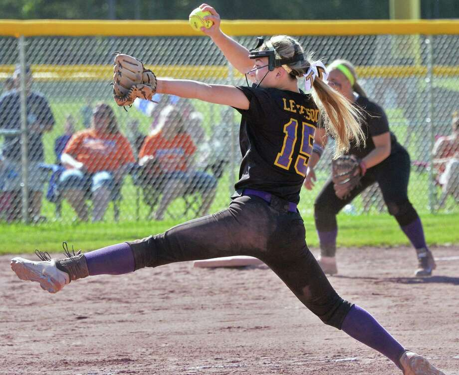 Troy pitcher #15 Hunter Levesque throws against Oneida in their softball Class A state quarterfinal Saturday June 7, 2014, in Malta, NY.  (John Carl D'Annibale / Times Union) Photo: John Carl D'Annibale / 00027233A