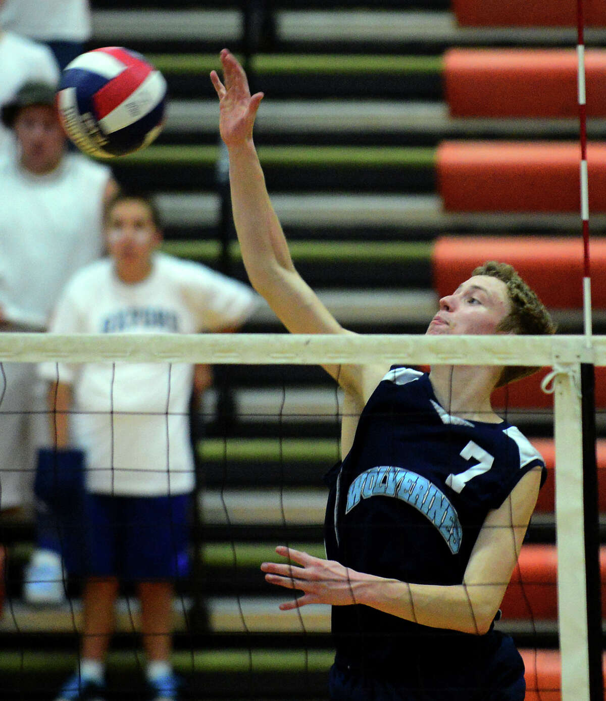 Oxford's Josh Thorne spikes the ball, during Class M Volleybal Championship action against Newington in Shelton, Conn. on Friday June 13, 2014.