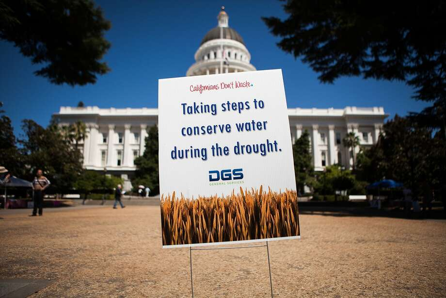 A sign explains the brown lawn in front of the Capitol in Sacramento, which is going unwatered as the state tries to cut back. Photo: Max Whittaker/Prime, Special To The Chronicle