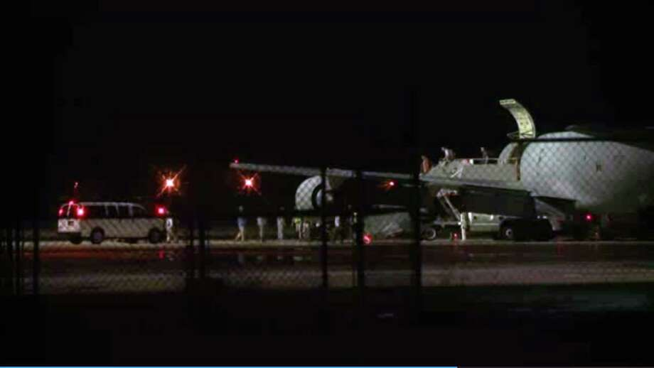 This image from video captures the arrival of Sgt. Bowe Bergdahl at Lackland Air Force Base near San Antonio early Friday. Photo: Manis Calco, STR / AP