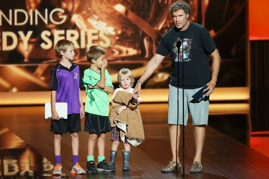 Can imagine having Will Ferrell as a dad? You might just end up on stage with him at the Emmys, like his three sons did here. Photo: Michael Tran, FilmMagic