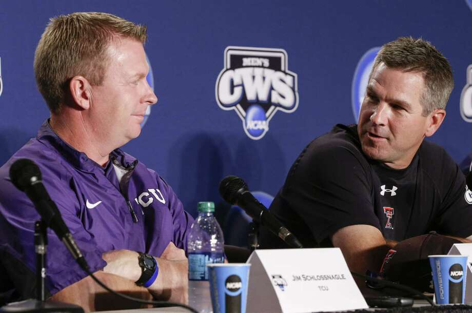 Coaches Jim Schlossnagle (left) of TCU and Tim Tadlock to Texas Tech have pitching staffs that played significant roles in getting the two Big 12 teams to the CWS in Omaha. Photo: Nati Harnik / Associated Press / AP
