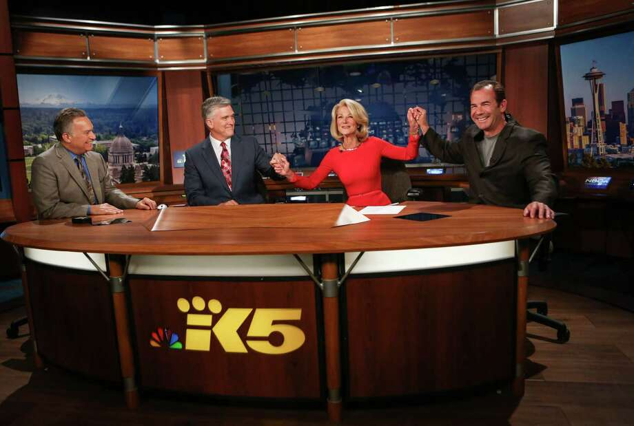 From left, KING/5 News meteorologist Jeff Renner, anchor Dennis Bounds, anchor Jean Enersen and sports anchor Paul Silvi say goodbye to Enersen on her final night as regular anchor of the KING/5 evening news. Enersen, who has worked at the station for 46 years, was the anchor for  42 years. Enersen was the first female  anchor in the country. Photographed on Friday, June 13, 2014. Photo: JOSHUA TRUJILLO, SEATTLEPI.COM / SEATTLEPI.COM