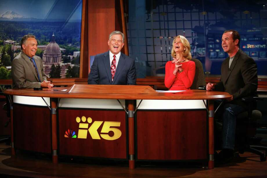 "Three of the people in this picture are leaving KING/5 News. From left, KING/5 News meteorologist Jeff Renner, anchor Dennis Bounds, anchor Jean Enersen and sports anchor Paul Silvi say goodbye to Enersen in 2014 on her final night as regular anchor of the KING/5 evening news. Bounds, Renner, Enersen and investigative reporter Linda Byron are departing as part of a ""voluntary retirement program."" See more photos of Seattle TV anchors through the years.  Photo: JOSHUA TRUJILLO, SEATTLEPI.COM / SEATTLEPI.COM"