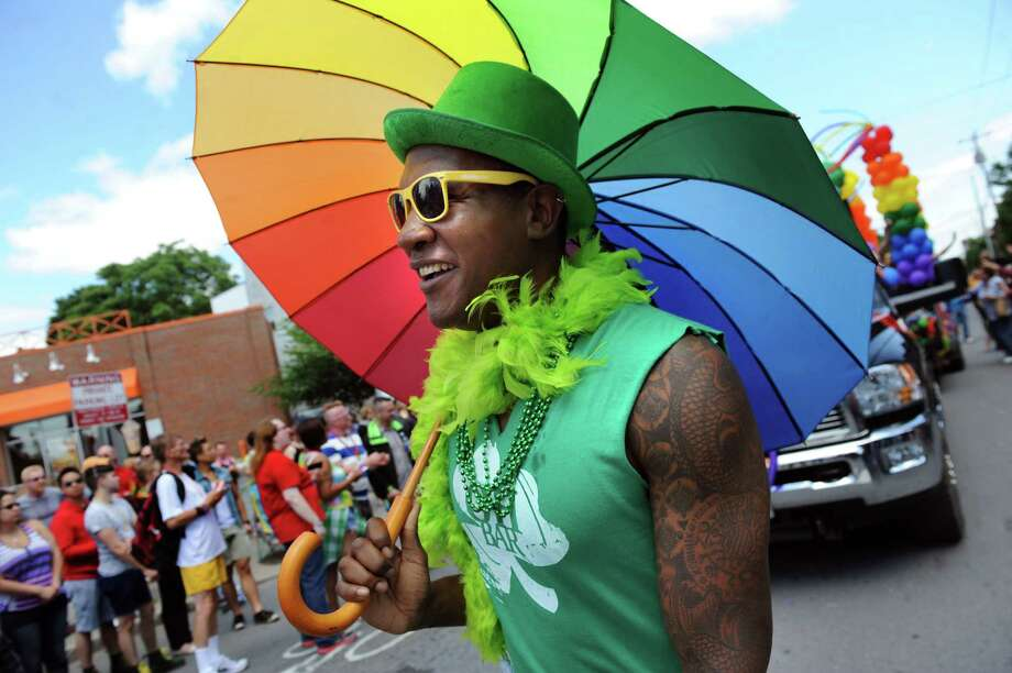 Sean Chappin parades down Lark Street during the Capital Pride Parade on Saturday, June 14, 2014, in Albany, N.Y. (Cindy Schultz / Times Union) Photo: Cindy Schultz / 00027244A