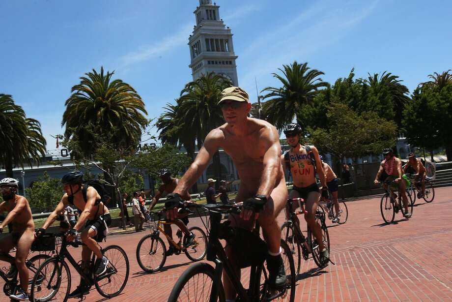Naked riders circle Justin Herman Plaza at the start of the eleventh annual World Naked Bike Ride on June 14, 2014 in San Francisco, CA. The bike ride is part of a global environmental protest against human dependency on the oil cartels. Photo: Craig Hudson, The Chronicle