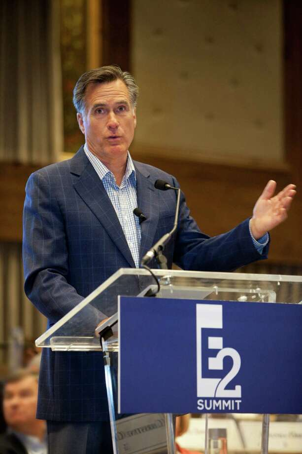 In a handout photo, former Republican presidential candidate Mitt Romney speaks during the Experts and Enthusiasts summit in Park City, Utah, June 13, 2014. Part right-leaning a€œideas festivala€ and part Romney political family reunion, the event featured early-morning yoga sessions, late-night cocktails, and a lecture on teamwork and fortitude by Peyton Manning, the Denver Broncos quarterback. (Shannon Rasband Norton via The New York Times) -- NO SALES; FOR EDITORIAL USE ONLY WITH STORY SLUGGED REPUBS ROMNEY RETREAT BY NICHOLAS CONFESSORE. ALL OTHER USE PROHIBITED. -- ORG XMIT: XNYT18 Photo: SHANNON RASBAND NORTON / SHANNON RASBAND NORTON