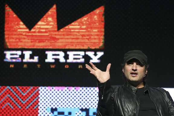 IMAGE DISTRIBUTED FOR PROMAXBDA - Robert Rodriguez, filmmaker, founder and chairman of the El Rey Network, speaks at the PromaxBDA The Conference 2014, Wednesday, June 11, 2014, in New York. (John Minchillo/AP Images for PromaxBDA)