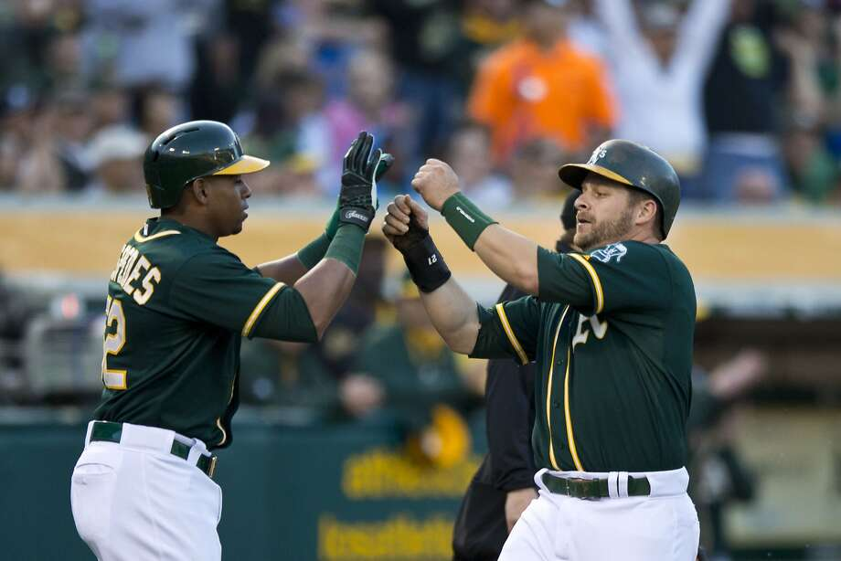 Yoenis Céspedes (left) and Stephen Vogt celebrate after scoring on Eric Sogard's second-inning single. Photo: Jason O. Watson, Getty Images