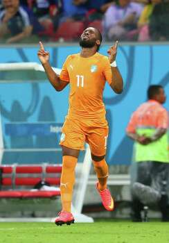 RECIFE, BRAZIL - JUNE 14: Didier Drogba of the Ivory Coast reacts as he enters the game during the 2014 FIFA World Cup Brazil Group C match  between the Ivory Coast and Japan at Arena Pernambuco on June 14, 2014 in Recife, Brazil. Photo: Julian Finney, Getty Images / 2014 Getty Images