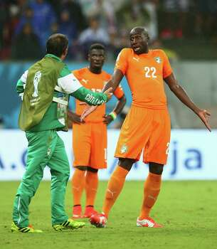 RECIFE, BRAZIL - JUNE 14: Sol Bamba of the Ivory Coast reacts during the 2014 FIFA World Cup Brazil Group C match  between the Ivory Coast and Japan at Arena Pernambuco on June 14, 2014 in Recife, Brazil. Photo: Julian Finney, Getty Images / 2014 Getty Images