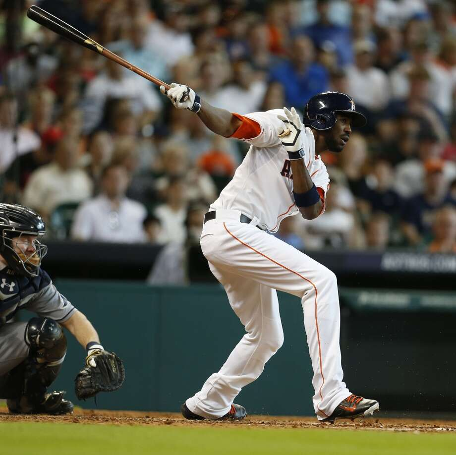 Astros center fielder Dexter Fowler hits the ball during the third inning. Photo: Karen Warren, Houston Chronicle