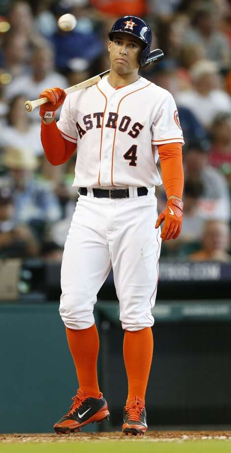 Astros right fielder George Springer reacts on a called strike during the fourth inning. Photo: Karen Warren, Houston Chronicle