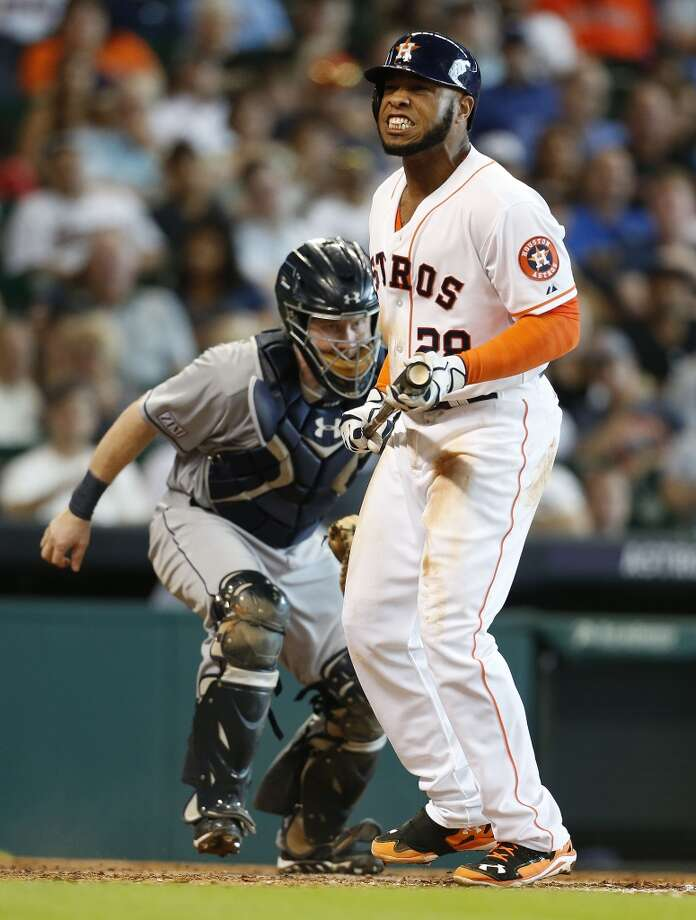 Astros first baseman Jon Singleton reacts after striking out during the fourth inning. Photo: Karen Warren, Houston Chronicle