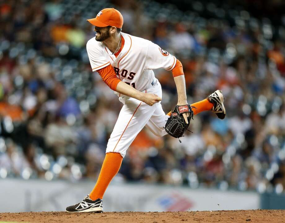 Astros relief pitcher Josh Zeid pitches during the ninth inning. Photo: Karen Warren, Houston Chronicle