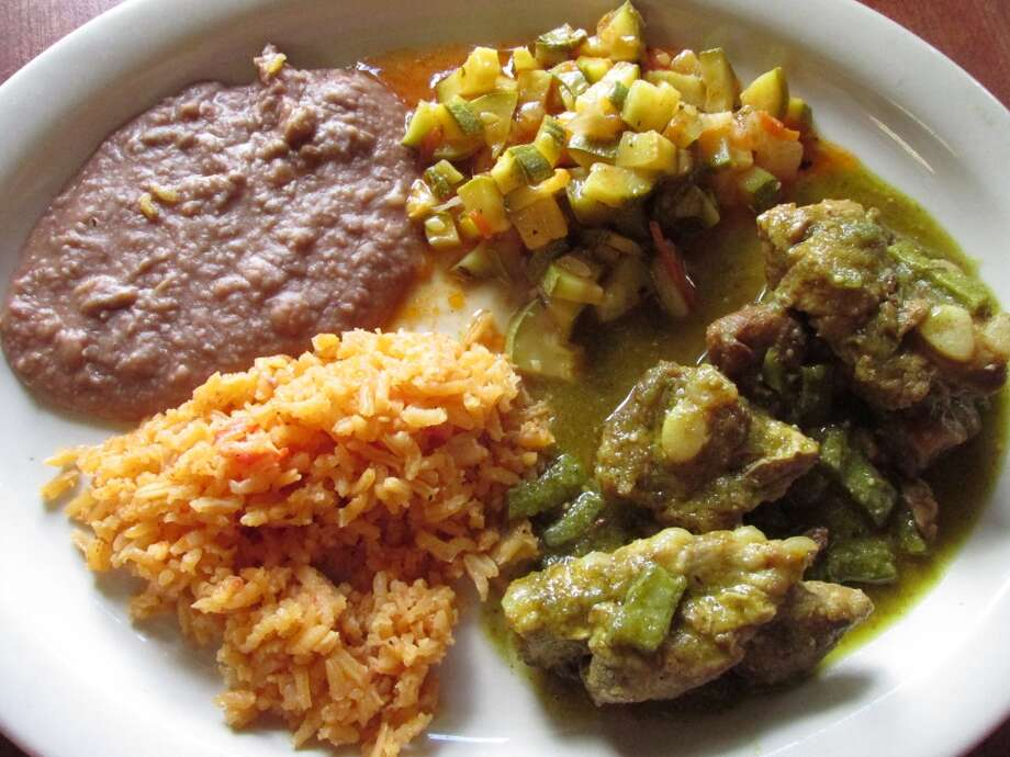 Pork in green sauce with squash, rice and beans at La Casita in Beaumont. Photo: Grace Mathis/cat5
