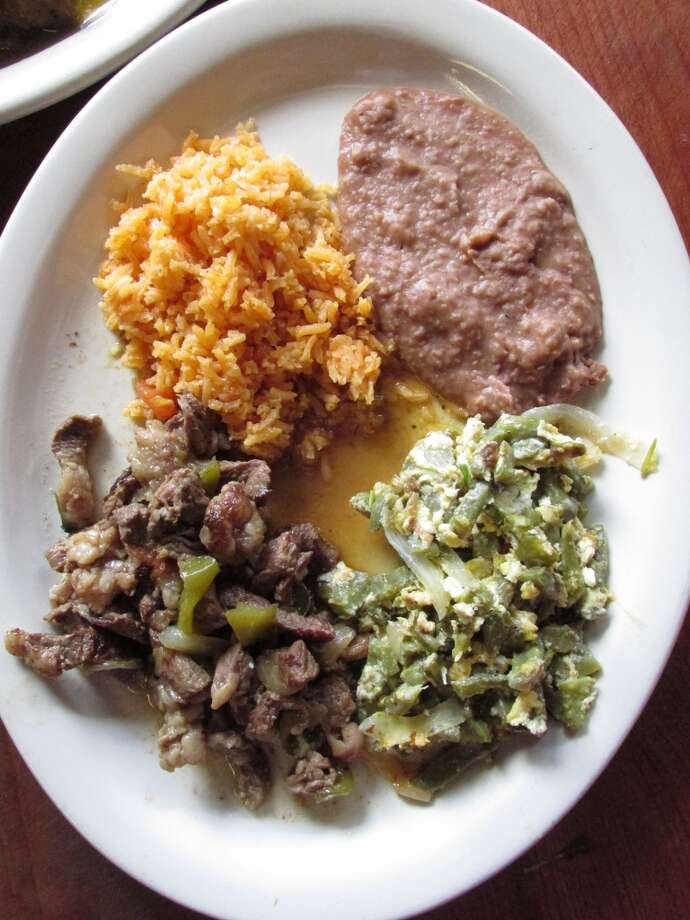 Fajita beef, nopalitos with eggs, rice and beans at La Casita in Beaumont Photo: Fajita Beef, Nopalitos With Eggs