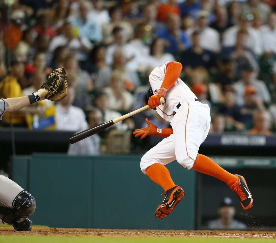 Astros right fielder George Springer is hit by a pitch during the third inning. Photo: Karen Warren, Houston Chronicle