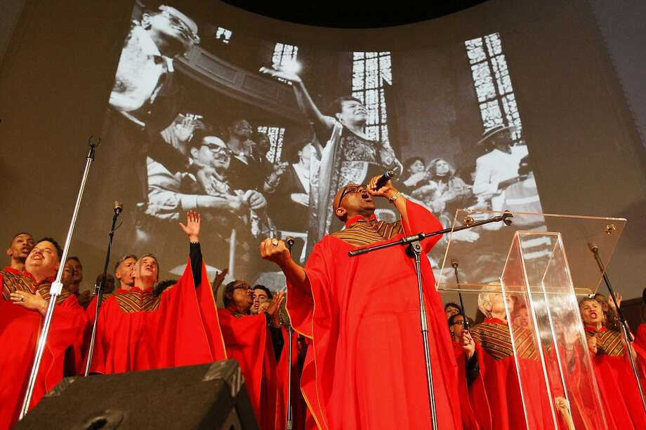 The Glide Ensemble performs during the service for poet Maya Angelou, who had requested in her will that her public memorial be held in San Francisco. Photo: James Tensuan, The Chronicle