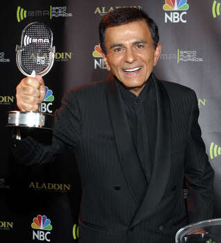 FILE - In this Oct. 27, 2003 file photo, Casey Kasem poses for photographers after receiving the Radio Icon award during The 2003 Radio Music Awards at the Aladdin Resort and Casino in Las Vegas. Kasem, the smooth-voiced radio broadcaster who became the king of the top 40 countdown, died Sunday, June 15, 2014, according to Danny Deraney, publicist for Kasem's daughter, Kerri. He was 82. Photo: ERIC JAMISON, AP / AP