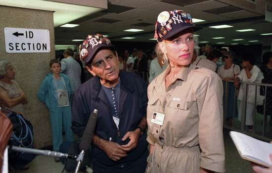 FILE - In this July 8, 1987 file photo, Casey Kasem and his wife Jean meet with reporters at Dulles International Airport in Chantilly, Va., upon the arrival of their group from the Soviet Union. Kasem, the smooth-voiced radio broadcaster who became the king of the top 40 countdown, died Sunday, June 15, 2014, according to Danny Deraney, publicist for Kasem's daughter, Kerri. He was 82. Photo: File, AP / AP