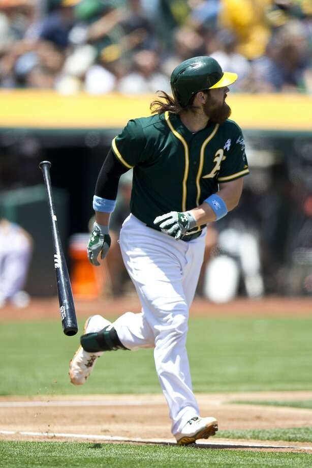 Batting cleanup for the first time, Derek Norris puts the A's ahead to stay with a three-run homer in the first inning off Vidal Nuño. Photo: Jason O. Watson, Getty Images