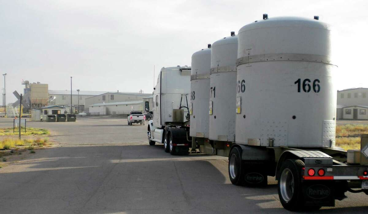 The first transuranic waste shipment arrives in April at the Waste Control Specialists facility in Andrews. The company wants to store more powerful radioactive material and expand the capacity in one of its burial areas.