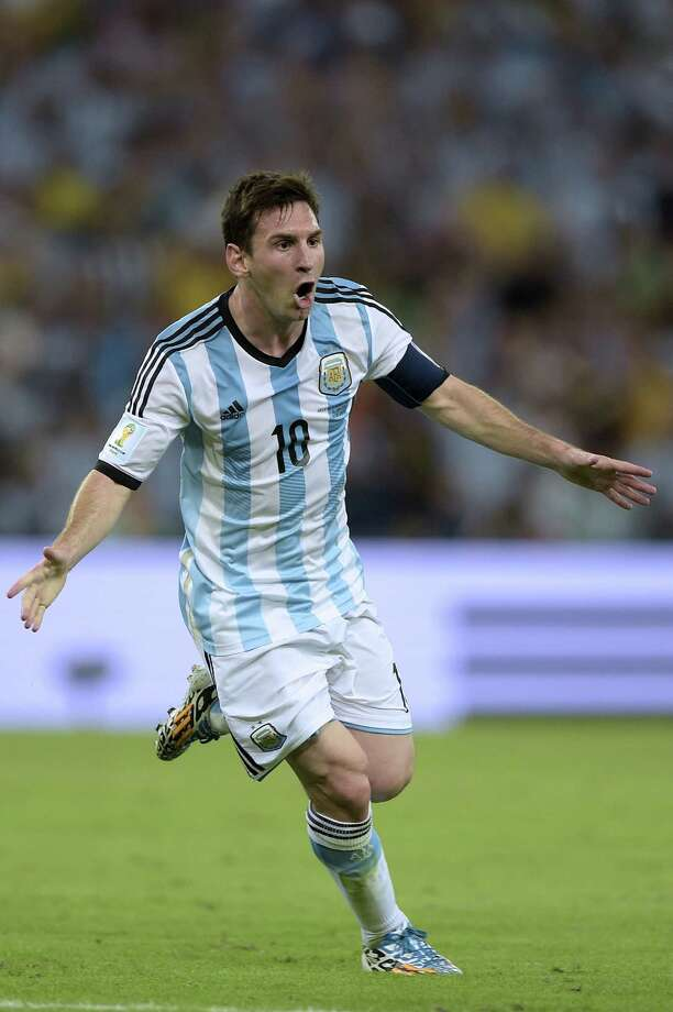 Argentina's forward and captain Lionel Messi celebrates after scoring his team's second goal during the Group F football match between Argentina and Bosnia Hercegovina at the Maracana Stadium in Rio De Janeiro during the 2014 FIFA World Cup on June 15, 2014. Argentina won 2-1.  AFP PHOTO / JUAN MABROMATAJUAN MABROMATA/AFP/Getty Images Photo: JUAN MABROMATA, AFP/Getty Images / AFP