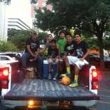 The Salame family was in place for a Spurs win on Sunday night, June 15, 2014. They have been parking their truck on Navarro and Commerce to listen to Spurs games since 2004.