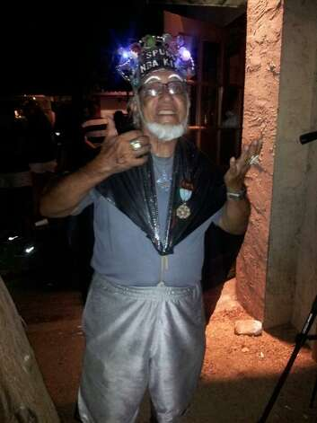 """""""The Spurs King"""" was out celebrating during Game 5 of the NBA Finals on Sunday, June 15, 2014. Photo: Taylor Tompkins/San Antonio Express-News"""