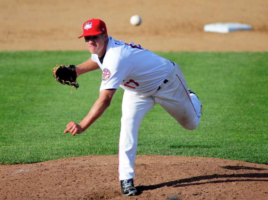 Blaine Sims of the Tri-City ValleyCats delivers a pitch in their game against the Connecticut Tigers at Joe Bruno Stadium on Sunday, June 15, 2014, in Troy, N.Y.    (Paul Buckowski / Times Union) Photo: Paul Buckowski / 00027237A