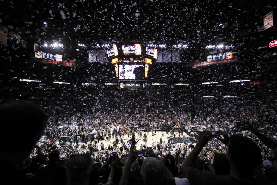 Confetti falls after the Spurs win Game 5 of the NBA Finals, clinching the championship over the Heat. Photo: Tony Gutierrez, Associated Press